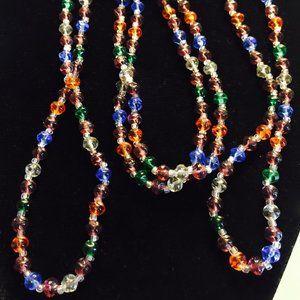 Art Deco Vintage  Colored Crystal Bead Necklace